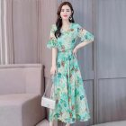 Women Summer Elegant Printing Slim Ruffle Sleeve All-match Long Dress green_2XL