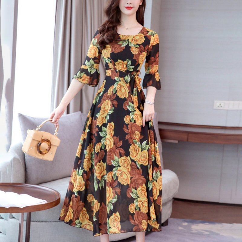 Women Printing A-line Long Beach Dress - S
