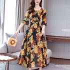 Women Summer Fashion All match Printing Pagoda Elbow Sleeve A line Long Beach Dress yellow M
