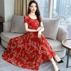 Women Summer Fashion Flower Printing Thin Waist Short Sleeve A line Long Dress red XXXL