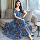 Women Summer Fashion Flower Printing Thin Waist Short Sleeve A line Long Dress Light blue XXL