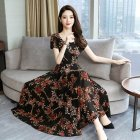 Women Summer Fashion Flower Printing Thin Waist Short Sleeve A line Long Dress black XXL