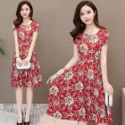 Women Summer Fashion Flower Printing Thin Waist Short Sleeve Large Hem Long Dress red_L
