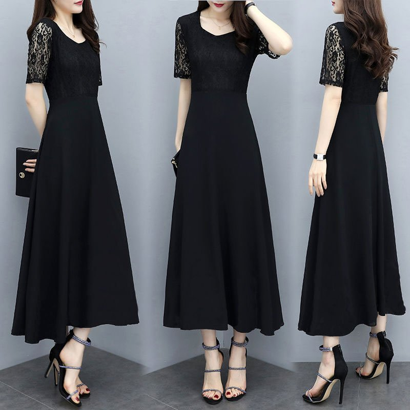 Women Summer Fashion Leisure Solid Color Large Size Long Lace Stitching Dress black_XXL