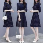 Women Summer Fashion Stripe Printing Thin Waist Three Quarter Sleeve A line Dress   S