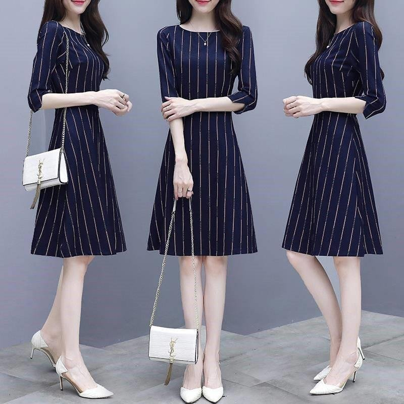 Women Stripe Printing A-line Dress - S
