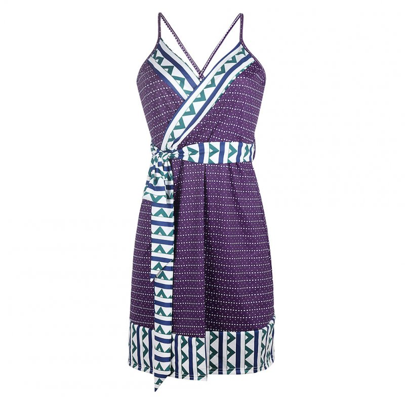 Women Summer Fashion Maternity Printed Sling Pregnant  Bohemian Style Dress purple_S