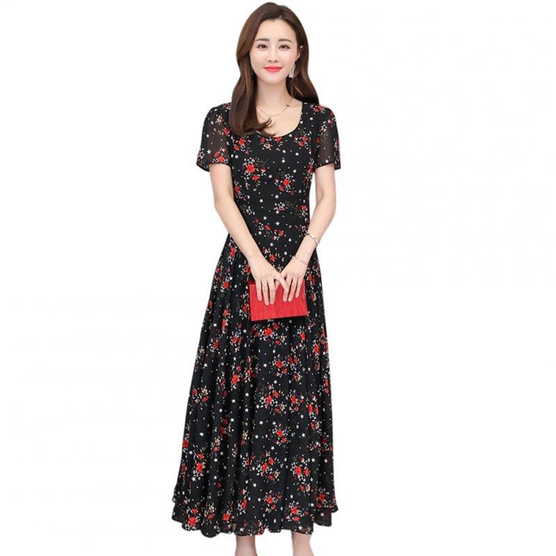 Women Summer Floral Large Size Slim Fit Mid-length Dress Large Hem Slim Dress black_XXL