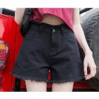 Women Summer High-waisted Wide-leg Denim Shorts with Loose Fringed Edges