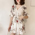 Women Summer Jumpsuits Chiffon Floral Printing Casual Clothes for Beach Vacation white_XL