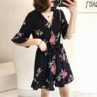 Women Summer Jumpsuits Chiffon Floral Printing Casual Clothes for Beach Vacation blue 2XL