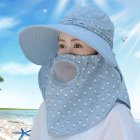 Women Summer Large Brim Sun Hat UV Protection Folding Mask Breathable Hat Light blue