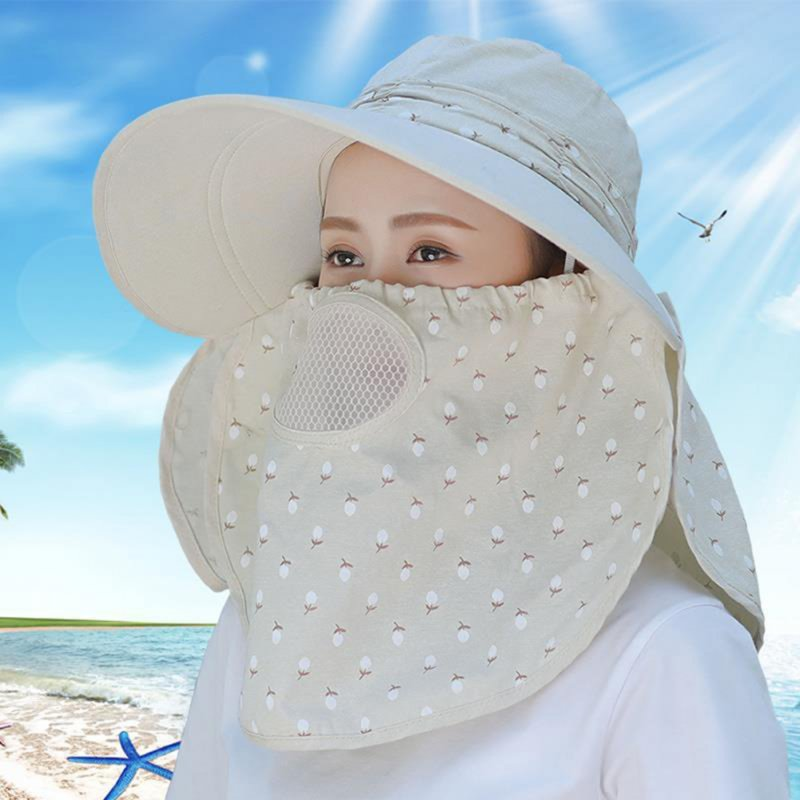 Women Summer Large Brim Sun Hat UV Protection Folding Mask Breathable Hat Light beige
