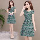 Women Summer Leisure Slim Floral Waist A line Dress green XXL