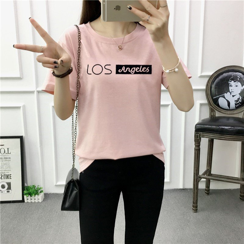 Women Summer Letters Printing Round Collar T shirt Shrimp pink_L
