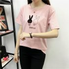 Women Summer Loose Cartoon Round Collar Short Sleeve T-shirt Shrimp pink_L