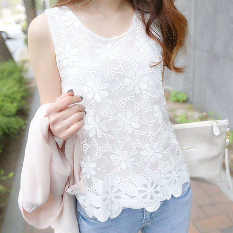 Women Loose Lace Flower Sleeveless Vest