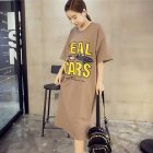 Women Summer Loose Short Sleeve Printing Slit Dress Brown_L