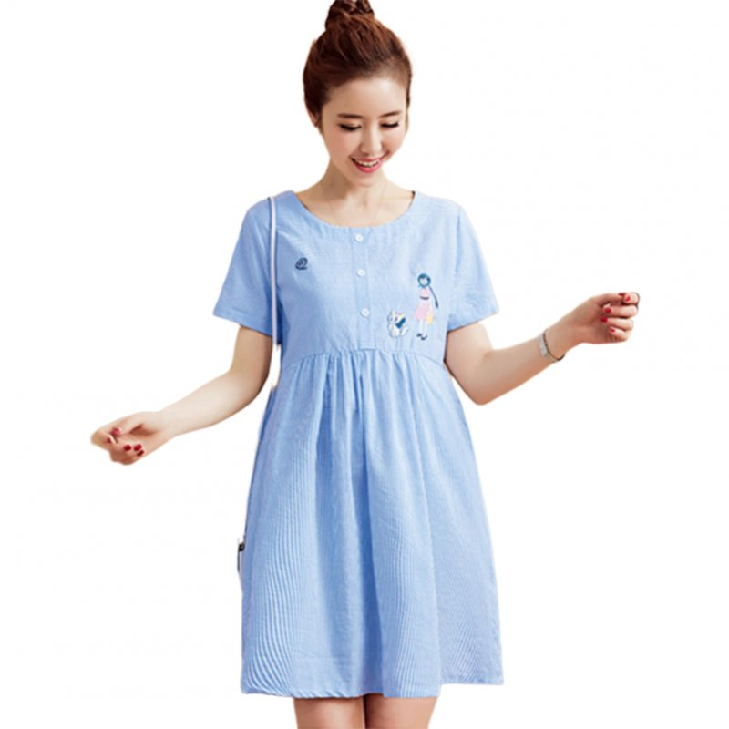 Women Summer Maternity Dress Cotton Short-sleeve Mid-length Dress blue_M