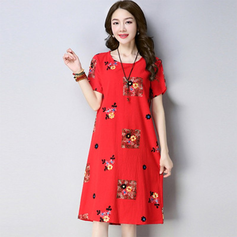 Women Summer Plus-size Dresses Short Sleeves Slim Fit Fashion Print A-line Dresses red_L
