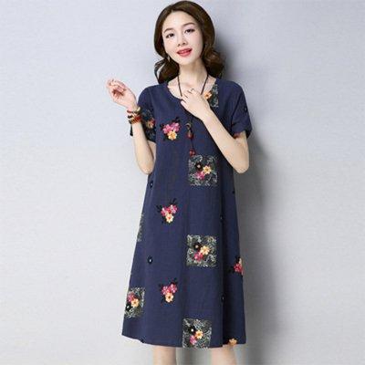 Women Summer Plus-size Dresses Short Sleeves Slim Fit Fashion Print A-line  Dresses Navy_XL