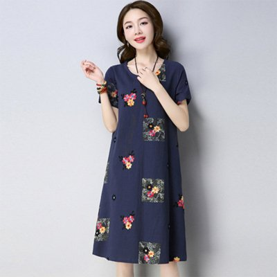 Women Summer Plus-size Dresses Short Sleeves Slim Fit Fashion Print A-line  Dresses Navy_2XL