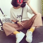 Women Summer Round Collar Cartoon Zebra Pattern T-shirt