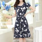 Women Summer Short Sleeve Slim Printing Dress as shown_L