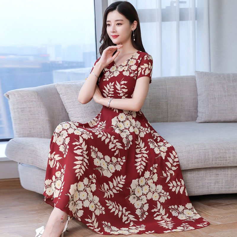 Women Summer Short Sleeve Fashion Printed Long Waisted Dress Red apricot flower_M
