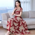 Women Summer Short Sleeve Fashion Printed Long Waisted Dress Red apricot flower_XL
