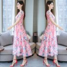 Women Summer Short Sleeve Flower Pattern Casual Long Dress Pink_L