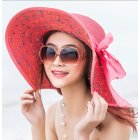 Women Summer Simple Bowknot Large Brim Foldable Sunscreen Outdoor Breathable Cap