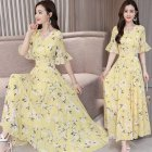 Women Summer Slim Leisure Waist Horn-Sleeve Floral Dress yellow_L