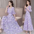Women Summer Slim Leisure Waist Horn-Sleeve Floral Dress purple_L