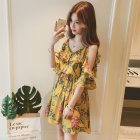 Women Summer Sling Dress Sexy V Collar Floral Dress for Beach Vacation yellow_L