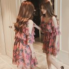 Women Summer Sling Dress Sexy V Collar Floral Dress for Beach Vacation red_L