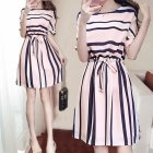 Women Summer Stripe Printing Lacing Short Sleeve Dress Pink_L