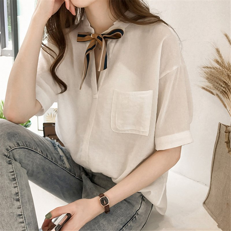 Women Summer Striped Tie Shirt Short Sleeve Loose Shirt white_XL