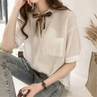 Women Summer Striped Tie Shirt Short Sleeve Loose Shirt white_XXL