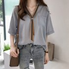 Women Summer Striped Tie Shirt Short Sleeve Loose Shirt blue_L