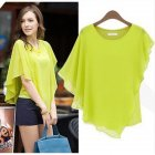 Women Summer Stylish All-match Ruffle Bat Sleeve Chiffon T Shirt  yellow_L
