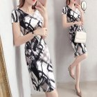 Women Summer Stylish Sexy Floral Slim Dress for Ladies black and white_S