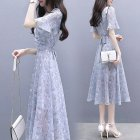 Women Summer Tight Waist Printing Mandarin Sleeve Lacing Dress Photo Color XXL