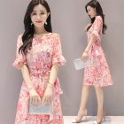 Women Summer Tight Waist Flare Sleeve Floral Printing Lacing Dress Pink_M