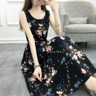 Women Summer Tight Waist Floral Printing Sleeveless Beach Dress  20# flower_XL