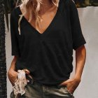 Women Summer V-neck Short-sleeved Solid Color Leisure Loose Sexy T-shirt black_M