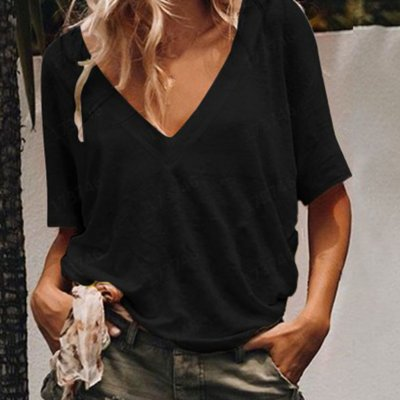 Women Summer V-neck Short-sleeved Solid Color Leisure Loose Sexy T-shirt black_3XL