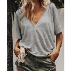 Women Summer V neck Short sleeved Solid Color Leisure Loose Sexy T shirt gray M