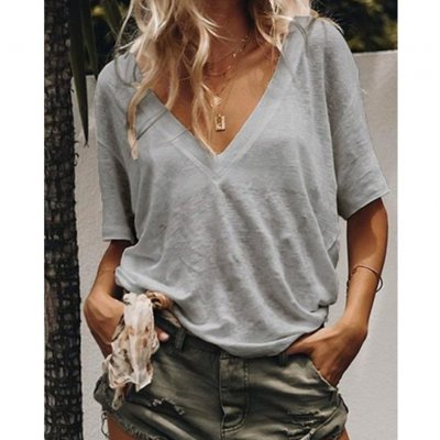 Women Summer V-neck Short-sleeved Solid Color Leisure Loose Sexy T-shirt gray_M