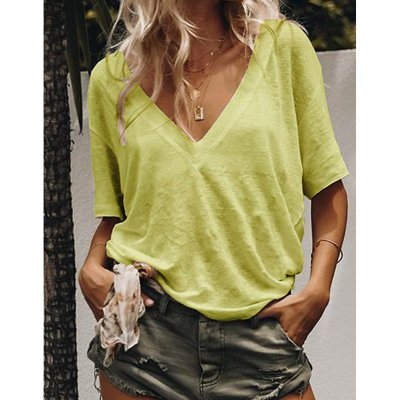 Women Summer V-neck Short-sleeved Solid Color Leisure Loose Sexy T-shirt yellow_M